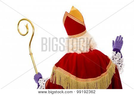 Sinterklaas .Shot of behind. isolated on white background. Dutch character of Santa Claus poster
