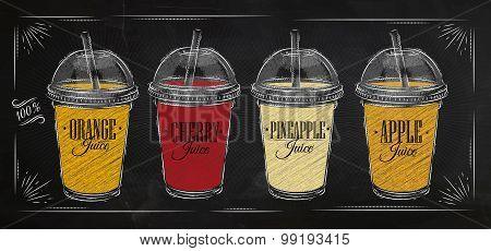 Poster Set Of Juice Chalk