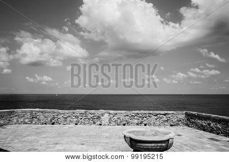 Sicily, Cefalu, Terrace Overlooking The Sea..