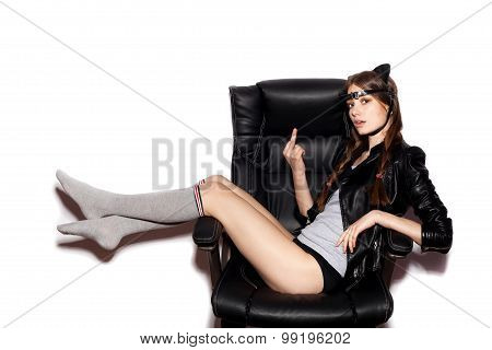 Woman Sit On Black Office Chair Show Middle Finger