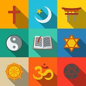 World religion symbols flat set with - christian and Jewish, Islam, Buddhism, Hinduism, Taoism, Shinto, pentagram, and book as symbol of doctrine. poster