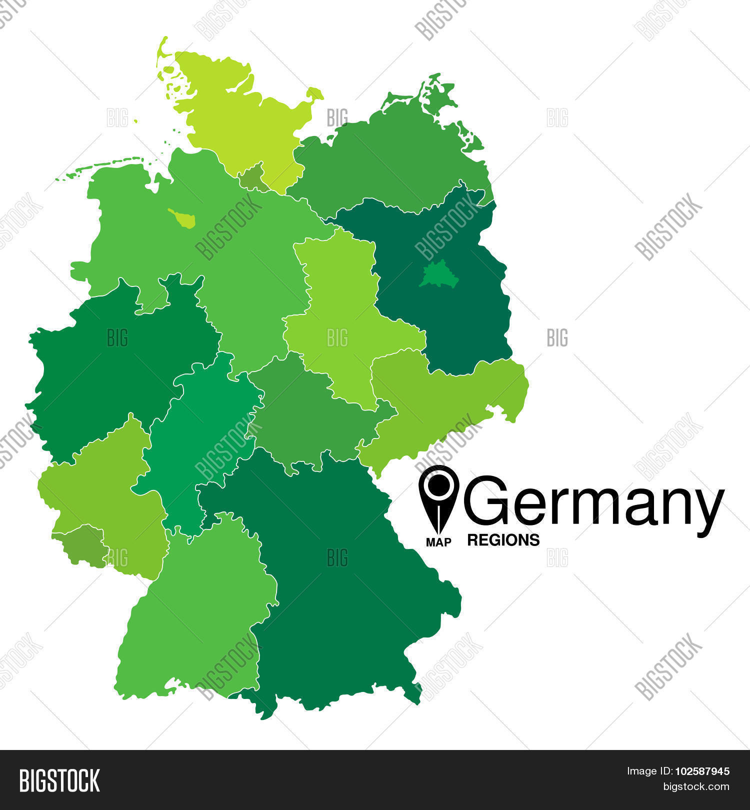 Map Of Germany Regions.Regions Map Germany Vector Photo Free Trial Bigstock