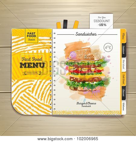 Vintage Watercolor Fast Food Menu. Sandwich Sketch Corporate Identity
