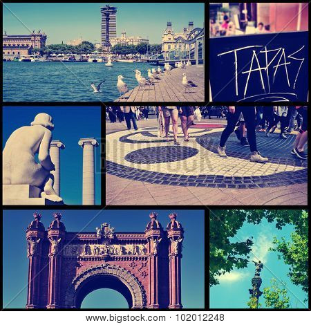 a collage of some pictures of different landmarks in Barcelona, Spain, such as the the Port Vell, the Columbus Monument, the Arc del Triomf or the Ramblas, cross processed poster