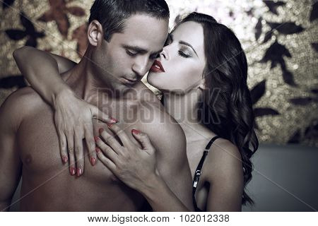 Passionate Couple Foreplay At Night