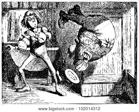 Alice in Wonderland old engraving. Father William jumping or doing a summersault: Alice's Adventures in Wonderland. Illustration from John Tenniel, published in 1865. poster