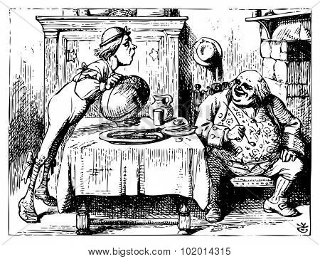 Alice in Wonderland old engraving. Father William eating in his house.: Alice's Adventures in Wonderland. Illustration from John Tenniel, published in 1865.
