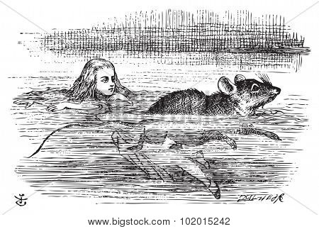 Alice in Wonderland. Alice swimming near a mouse. Miniature Alice is swimming the pool when she encounter a mouse.Alice's Adventures in Wonderland. Illustration from John Tenniel, published in 1865. poster