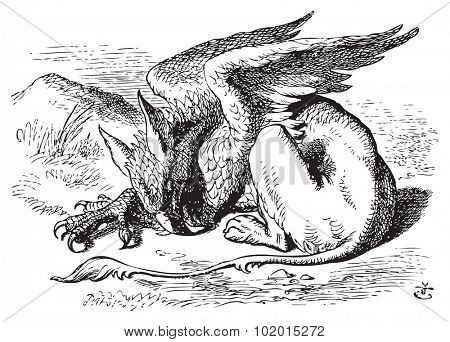 The Sleeping Gryphon - Alice in Wonderland original vintage engraving. They very soon came upon a Gryphon, lying fast asleep in the sun. Illustration from John Tenniel, published in 1865. poster
