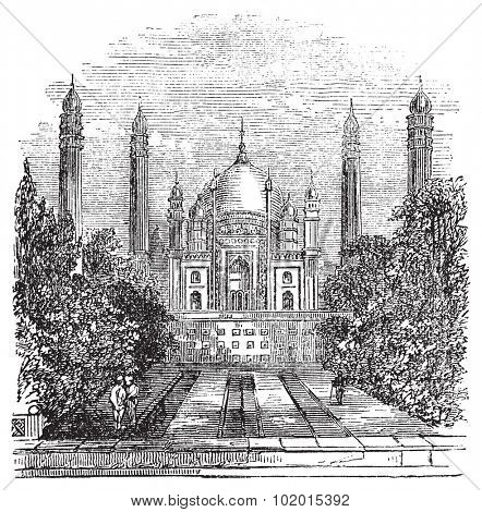 Badshahi Mosque in Lahore, Pakistan, during the 1890s, vintage engraving. Old engraved illustration of Badshahi Mosque showing courtyard.