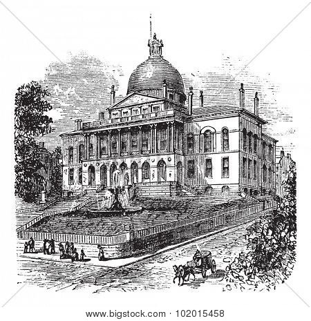 State House or Massachusetts State House or The New State House, Beacon Hill, Boston, Massachusetts, USA vintage engraving.  Old engraved illustration of building exterior