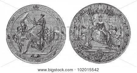 Great Seal of England by Queen Victoria vintage engraving. Old engraved illustration of the Victorian Great seal of Britain. Written Defensor Victoria Gratia Britanniarum Regina. Isolated on white poster