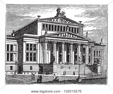 Konzerthaus Berlin also known as Schauspielhaus Berlin, concert hall, Berlin, Germany, old engraved illustration of the Konzerthaus Berlin, concert hall, Germany.
