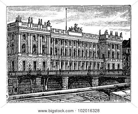 Berlin Stock Exchange, in Berlin, Germany, during the 1890s, vintage engraving. Old engraved illustration of Berlin Stock Exchange. Trousset Encyclopedia