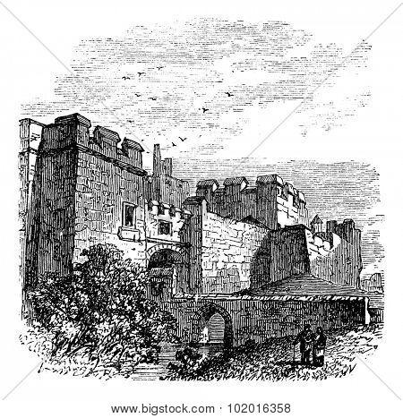 Entrance of the castle Carlisle, in Carlisle, county of Cumbria, United Kingdom vintage engraving, 1890s. Old engraved illustration of Carlisle castle, near Hadrian's wall. Trousset Encyclopedia