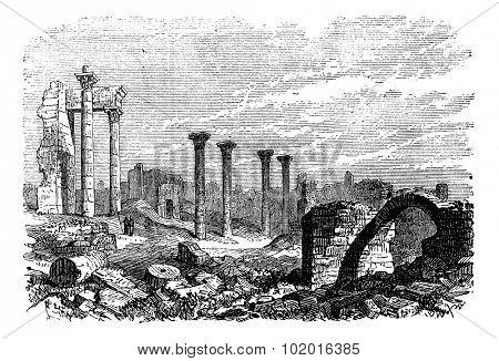 Ruins of Bozrah,  Captial city of Edorn, Jordan, now Bouseira vintage engraving. Old engraved illustration of Ruins of Bozrah,  Jordan, in the 1890s. Trousset Encyclopedia