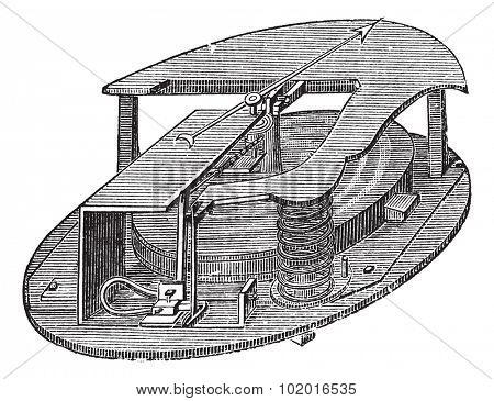 Aneroid Barometer, vintage engraving. Old engraved illustration of an Aneroid Barometer. Trousset encyclopedia poster