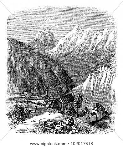 Grande Chartreuse, in the Rhone-Alpes, France, during the 1890s, vintage engraving. Old engraved illustration of the Grande Chartreuse. Trousset Encyclopedia