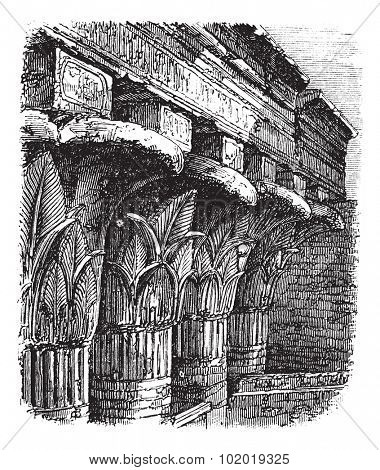 Grand Portico or Cross-Beam at the Temple of Khnum, in Esna, Egypt, during the 1890s, vintage engraving. Old engraved illustration of Grand Portico at the Temple of Khnum. Trousset Encyclopedia