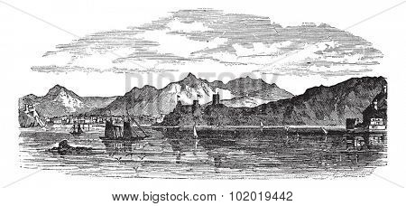 Muscat in Oman, during the 1890s, vintage engraving. Old engraved illustration of Muscat with sea in front.  Trousset encyclopedia (1886 - 1891)