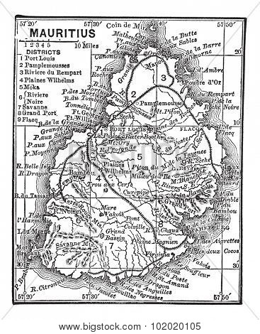 Map of Mauritius, during the 1890s, vintage engraving. Old engraved illustration of the Map of Mauritius.