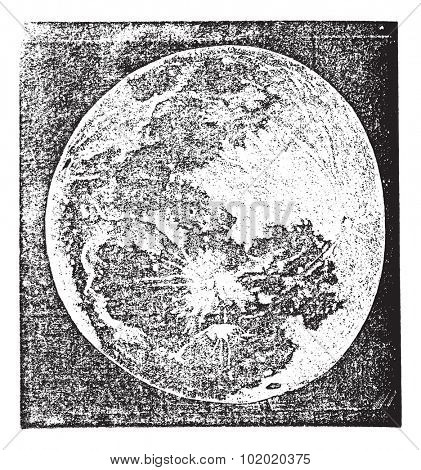 Full Moon Photograph taken by Prof. H. Draper, New York, vintage engraving. Old engraved illustration of Full Moon Photograph. Trousset encyclopedia (1886 - 1891).