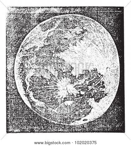 Full Moon Photograph taken by Prof. H. Draper, New York, vintage engraving. Old engraved illustration of Full Moon Photograph. Trousset encyclopedia (1886 - 1891).