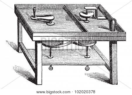 Lapidary Table vintage engraving. Old engraved illustration of lapidary table.