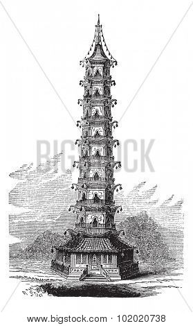 Porcelain Tower of Nanjing, in China, vintage engraved illustration. Trousset encyclopedia (1886 - 1891).