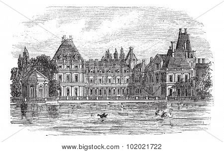 Fontainebleau Palace in Paris, France, during the 1890s, vintage engraving. Old engraved illustration of Fontainebleau Palace. Trousset encyclopedia (1886 - 1891).