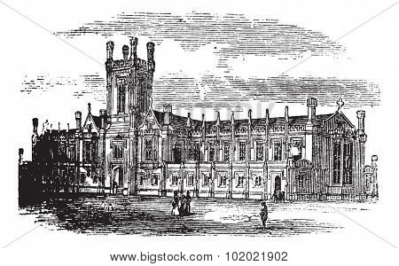 Cheltenham College, in Gloucestershire, England, during the 1890s, vintage engraving. Old engraved illustration of Cheltenham College. Trousset encyclopedia (1886 - 1891).