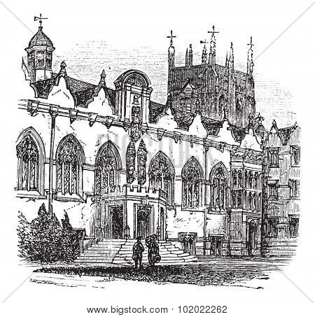 University of Oxford or Oxford University in Oxford, England, during the 1890s, vintage engraving. Old engraved illustration of University of Oxford. Trousset encyclopedia (1886 - 1891).