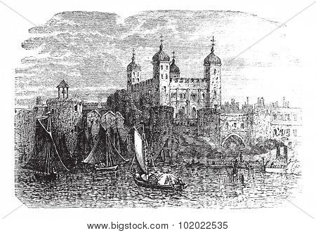 Tower of London or Her Majesty's Royal Palace and Fortress in London, England, during the 1890s, vintage engraving. Trousset encyclopedia (1886 - 1891).