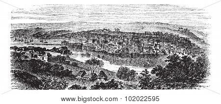Matanzas or Venice of Cuba or City of Bridges in Cuba, during the 1890s, vintage engraving. Old engraved illustration of Matanzas with river. Trousset encyclopedia (1886 - 1891).