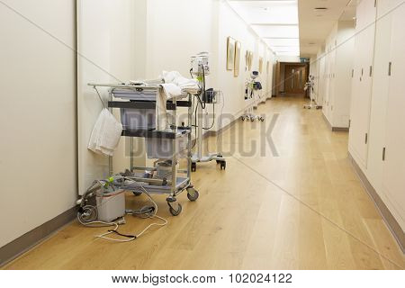 Empty Corridor With Medical Equipment In Modern Hospital