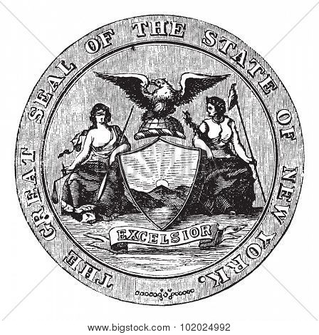 Seal of the State of New York, vintage engraved illustration. Trousset encyclopedia (1886 - 1891).