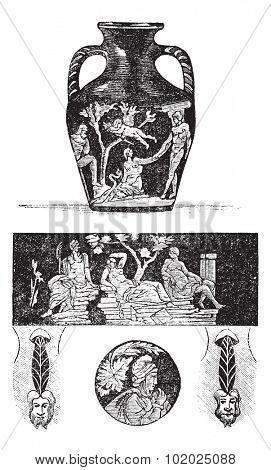 Portland Vase, showing front and back figures (top and center), base (bottom center), and roundels (bottom left and right), vintage engraved illustration. Trousset encyclopedia (1886 - 1891).