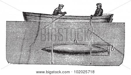 Fig .2. - Whitehead torpedo of Luppis, vintage engraved illustration. Trousset encyclopedia (1886 - 1891).