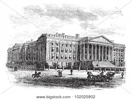 United States Department of the Treasury Building, in Washington, D.C., USA, vintage engraved illustration. Trousset encyclopedia (1886 - 1891).