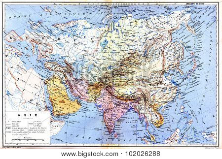 The map of Asia with names of cities and countries on map from the late 1800s,  Trousset encyclopedia (1886 - 1891).