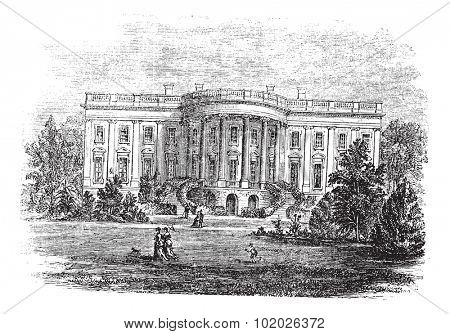 White house in Washington, D.C, America, during the 1890s, vintage engraving. Old engraved illustration of the South facade of the White House. Trousset encyclopedia (1886 - 1891).