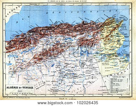 The map of Algeria and Tunisia with names of their cities on it. from the late 1800s,  Trousset encyclopedia (1886 - 1891).