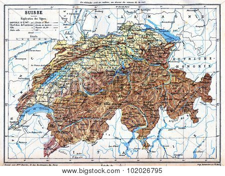 The map of Switzerland with explanation of signs on it. Old vintage map from the late 19th century, Trousset encyclopedia (1886 - 1891).
