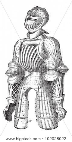 Old engraved illustration of Maximilian armor at the Paris Museum of Artillery, isolated on a white background. Industrial encyclopedia E.-O. Lami - 1875.