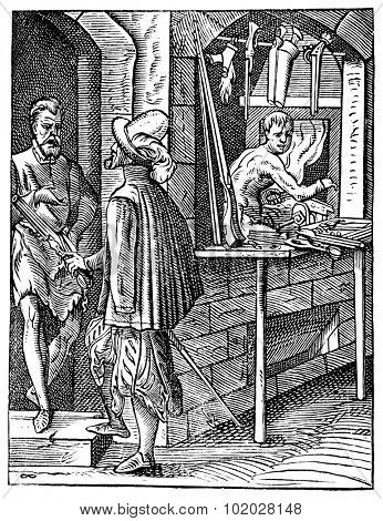 Old engraved illustration of Gunsmith shop with three people. Industrial encyclopedia E.-O. Lami - 1875.