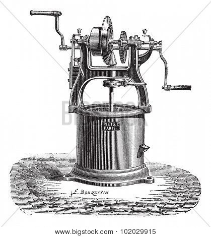 Old engraved illustration of Spin dryer. Industrial encyclopedia E.-O. Lami - 1875. poster
