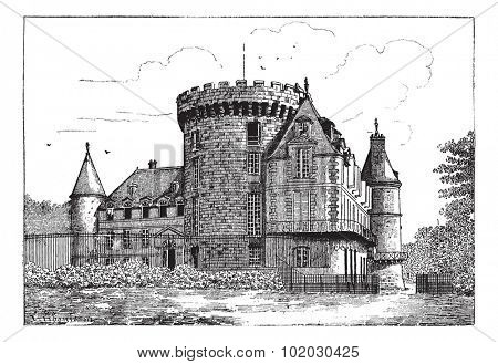 Chateau of Rambouillet, vintage engraved illustration. Dictionary of words and things - Larive and Fleury - 1895.