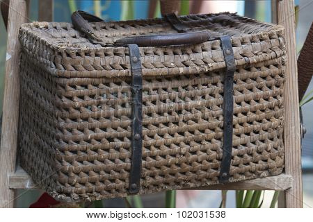 a big basket as decorations for holidays