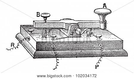 Telegraph, morse key, vintage engraved illustration. Dictionary of words and things - Larive and Fleury - 1895.