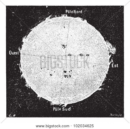 Old engraved illustration of the Sun with solar disk protrusions observed in Rome, July 1871, from spectroscope at The College of Equatorial Romain. Dictionary of words and things Larive and Fleury
